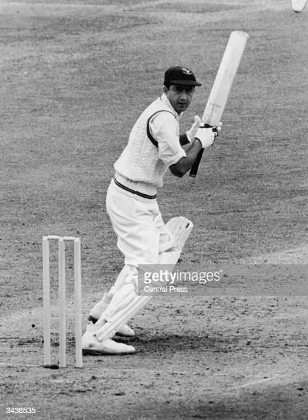 Pakistani cricketer Fazal Mahmood batting during the test match against England at Notts