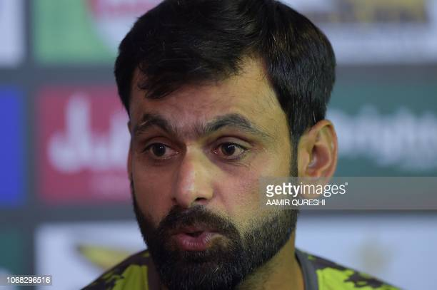 Pakistani cricketer Mohammad Hafeez announces his retirement from Test cricket during a press conference at the Sheikh Zayed International Cricket...