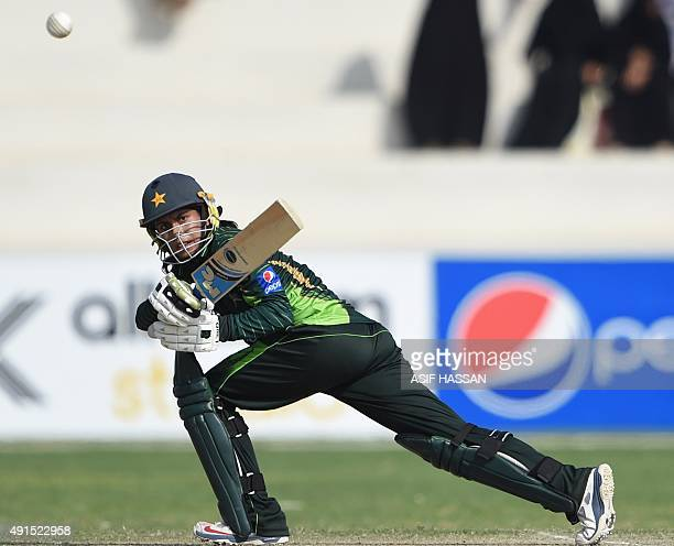 Pakistani cricketer Nain Abidi plays a shot during the second and final women's One Day International cricket match between Pakistan and Bangladesh...