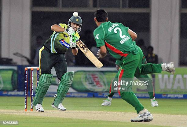 Pakistani cricketer Salman Butt plays a shot during the fourth OneDay International cricket match between Pakistan and Bangladesh in Multan on April...