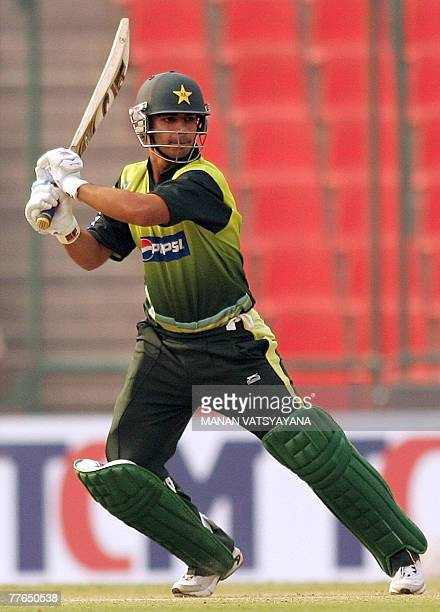 Pakistani cricketer Salman Butt plays a stroke during a practice match at the Ferozshah Kotla ground in New Delhi 02 November 2007 Pakistan are...