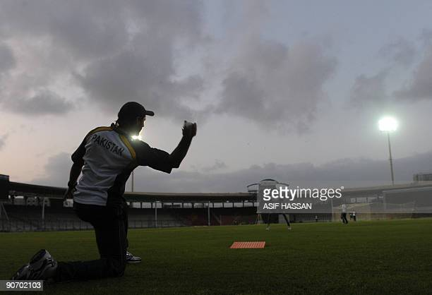 Pakistani cricketer Shahid Afridi throws a ball at a training camp in The National Stadium in Karachi on September 13 2009 Pakistan captain Younus...