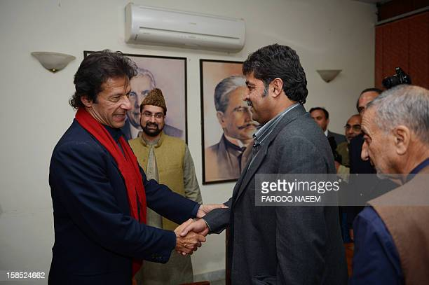 Pakistani cricketer turned politician Imran Khan greets leaders of the moderate All Parties Hurriyat Conference Bilal Ghani Lone Mirwaiz Umar Farooq...