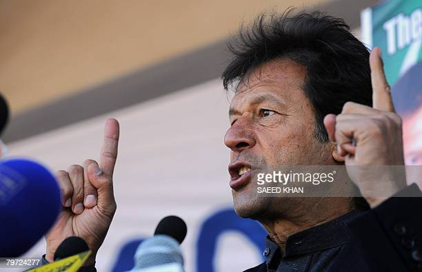 Pakistani cricketer turned-politician Imran Khan speaks at a protest rally in the northwestern city of Peshawar on February 12, 2008. Hundreds of...