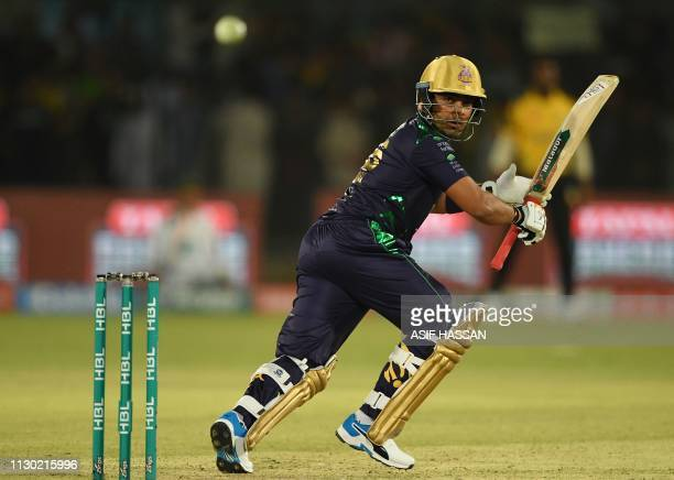 Pakistani cricketer Umar Akmal of Peshawar Zalmi plays a shot during the qualifier match between the Peshawar Zalmi and Quetta Gladiators of the...