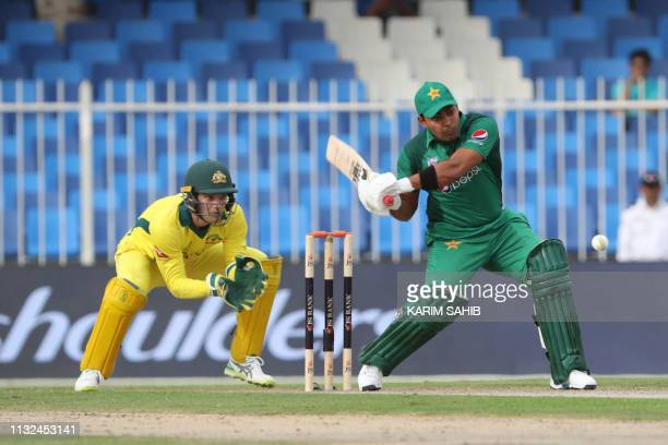 Pakistani cricketer Umar Akmal plays a shot during the second one day international cricket match between Pakistan and Australia in Sharjah in the...