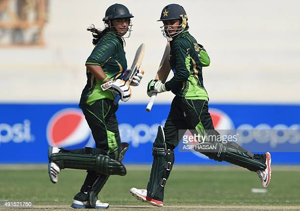 Pakistani cricketers Bismah Mahroof and Marina Iqbal run between the wickets during the second and final women's One Day International cricket match...