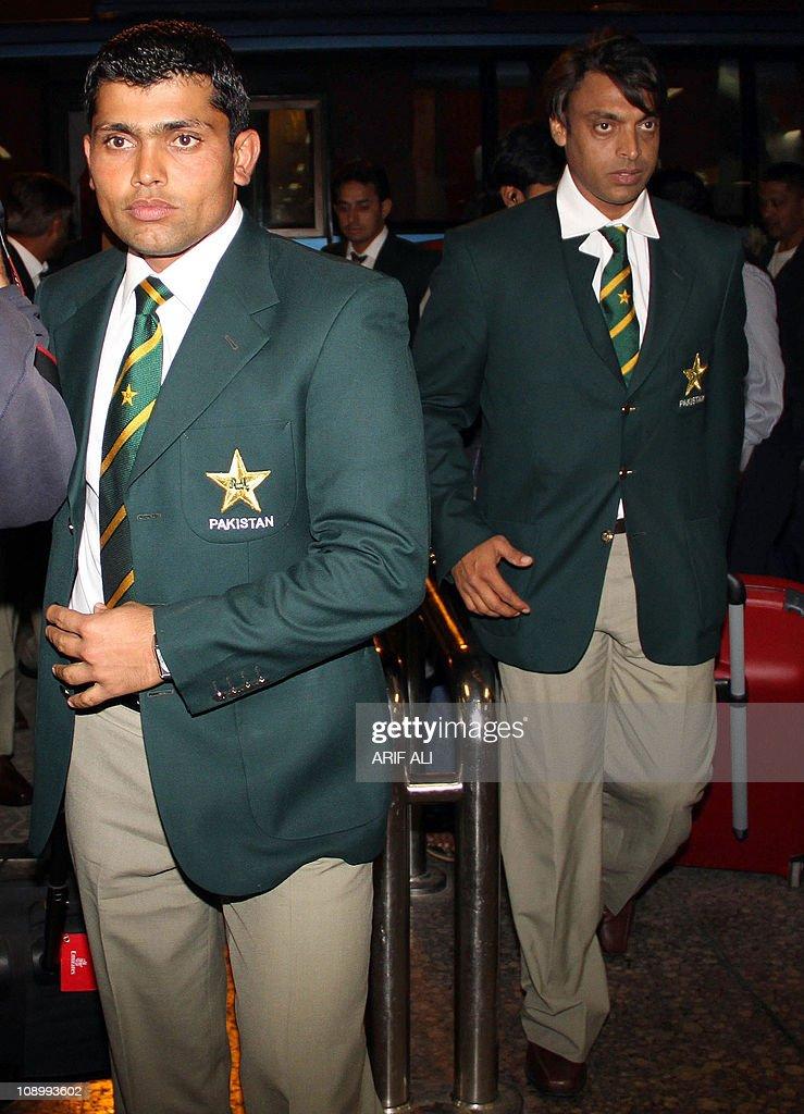 Pakistani cricketers Kamran Akmal and Shoaib Akhtar arrive at the