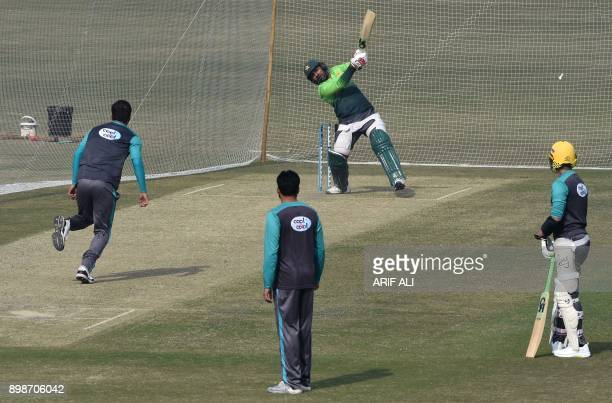 Pakistani cricketers take part in a practice session in Lahore on December 26 2017 Pakistan still have bowlers who can put pressure on New Zealand in...