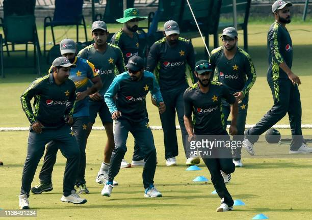 Pakistani cricketers take part in a training camp at the Gaddafi Cricket Stadium in Lahore on April 21 ahead of next month's ICC World Cup in England