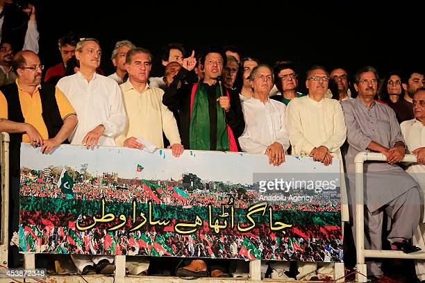 Pakistani cricketer-turned politician and chairman of the Pakistan Tehreek-e-Insaf political party, Imran Khan speaks during an anti-government rally...