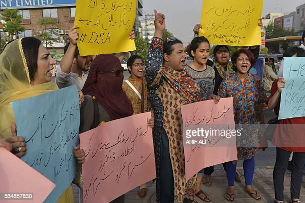 Pakistani eunuchs and their supporters protest in the wake of the killing of transgender female Alisha in Lahore on May 28 2016 Alisha who was shot...