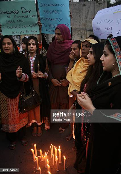 Pakistani Eunuchs hold candligthing ceremony in memory of transphobia vicitims on the eve of International Transgender Day of Remembrance in Lahore...