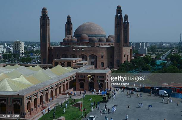 Pakistani faithful Muslims take part during Second NamazeJuma of Holy Fasting Month of RamzanulMubarak at 7th largest Bahria Town Mosque in Lahore...