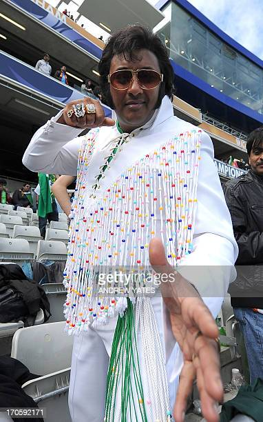 A pakistani fan dressed as Elvis Presley waits for the start of the 2013 ICC Champions Trophy cricket match between Pakistan and India at Edgbaston...