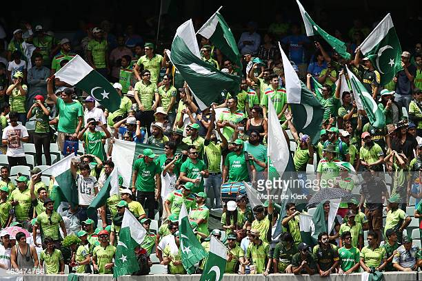 Pakistani fans enjoy the atmosphere during the 2015 ICC Cricket World Cup match between India and Pakistan at Adelaide Oval on February 15 2015 in...