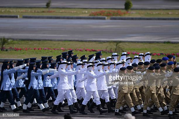 Pakistani female armed forces personnel march during the Pakistan Day military parade in Islamabad on March 23 2016 Pakistan National Day...