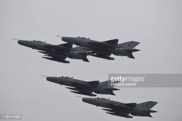 Pakistani fighter jet perform during the Pakistan Day parade in Islamabad on March 23 2019 Pakistan National Day commemorates the passing of the...