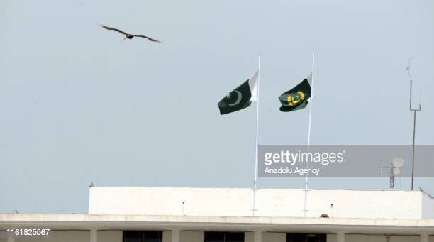 Pakistani flags fly at halfmast at President House as the country observes Black Day to mark India's Independence Day after it revoked the special...