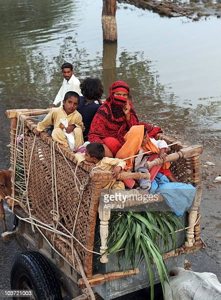 Pakistani floodaffected villagers ride with their belongings on a bullock cart in the village of Karam Dad Qureshi in Dera Ghazi Khan district on...