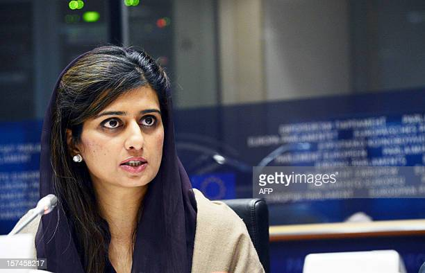 Pakistani Foreign Minister Hina Rabbani Khar addresses on December 3 2012 the Foreign Affairs Commission of the European Parliament at the EU...