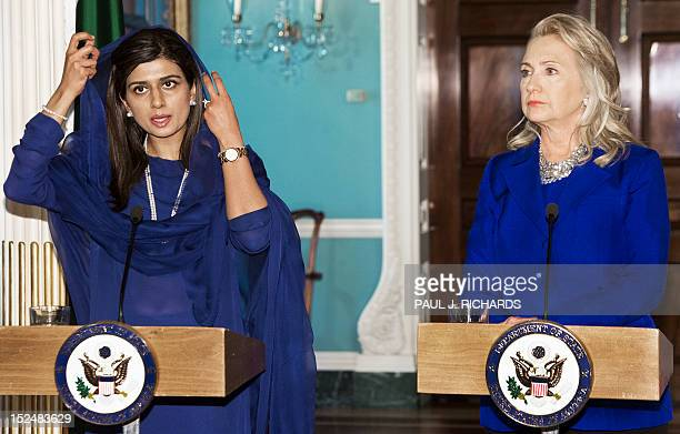 Pakistani Foreign Minister Hina Rabbani Khar and US Secretary of State Hillary Clinton speak to the media on September 21 shortly before their...