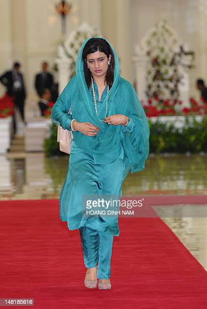 Pakistani Foreign Minister Hina Rabbani Khar arrives for meetings held on the sidelines of the 45th Annual Ministerial Meeting of the Association of...