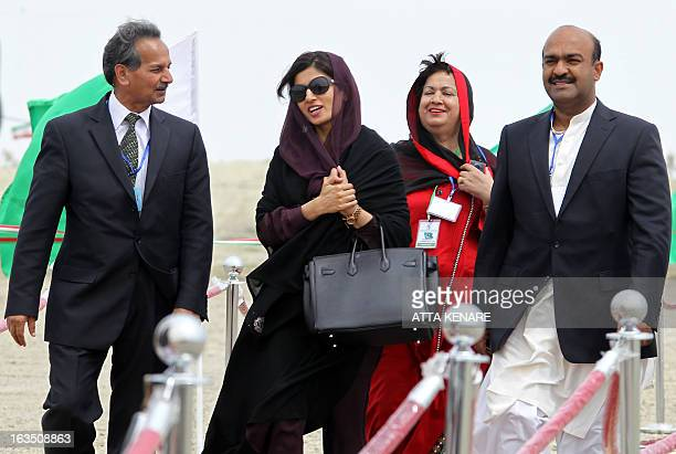 Pakistani Foreign Minister Hina Rabbani Khar attends the inauguration ceremony of a gas pipeline linking Iran and Pakistan in the Iranian border city...