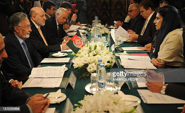Pakistani Foreign Minister Hina Rabbani Khar holds talks with her Afghan counterpart Zalmai Rassoul during their meeting in Islamabad on November 30...