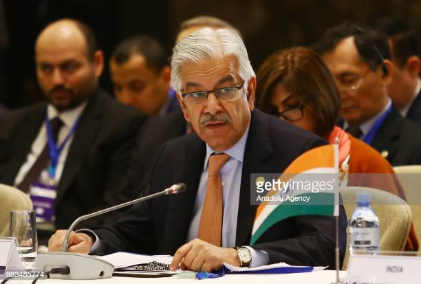 Pakistani Foreign Minister Khawaja Mohammed Asif attends the ''Heart of Asia Istanbul Process 7th Ministerial Conference'' in Baku Azerbaijan on...