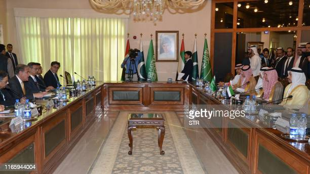 Pakistani Foreign Minister Shah Mehmood Qureshi holds a meeting with Saudi Foreign Minister Adel al-Jubeir and United Arab Emirates Foreign Minister...