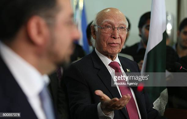Pakistani Foreign Minister's adviser Sartaj Aziz delivers a speech during a joint press conference with Afghan Foreign Minister Salahuddin Rabbani...