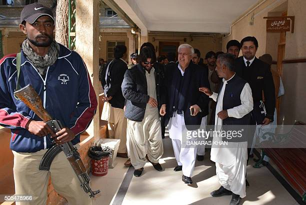 Pakistani former interior minister Aftab Sherpao leaves the court after a hearing in Quetta on January 18 2016 A Pakistani court acquitted former...