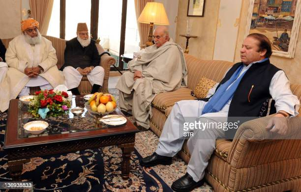Pakistani former premier and opposition leader Nawaz Sharif meets with opposition party leaders Maulana Fazalur Rehman Qazi Hussain Ahmed and Mehmood...