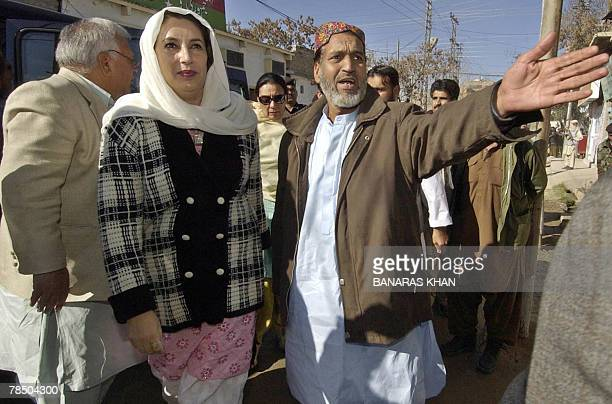 Pakistani former prime minister Benazir Bhutto arrives at the house of Talal Bugti son of slain rebel tribal chief Nawab Akbar Bugti during her visit...