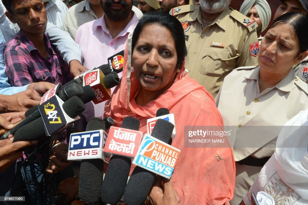Pakistani former prisoner Nasreen Akhtar speaks with media persons after she was released from Amritsar Central Jail on the outskirts of Amritsar on..