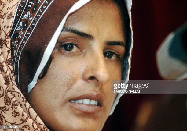 Pakistani gang rape victim Mukhtiar Mai speaks during a press conference in Islamabad 05 March 2005 A Pakistani court 03 March overturned the...