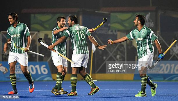 Pakistani hockey player AwaisUr Rehman celebrates after scoring a goal against India during the final against India at the 12th South Asian Games...
