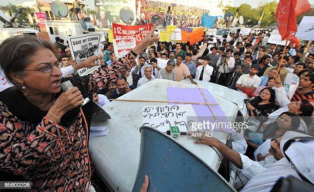 Pakistani human rights activist and lawyer Asma Jahangir addresses a protest rally in Lahore on April 4 against the public flogging of a veiled woman...
