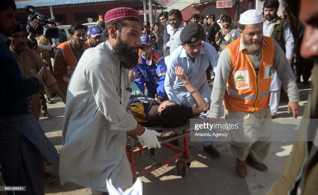 A Pakistani injured victim is being carried on a stretcher at a hospital following an attack on Peshawar Agricultural Training Institute by Taliban militants, in the northwestern city of Peshawar, in Khyber Pakhtunkhwa province, Pakistan, on December 1, 2017. At least 12 people, including three suspected militants were killed and dozens others injured during an attack on a university hostel in Peshawar, the capital of northwestern Khyber Pakhtunkhawa province, according to army and police.