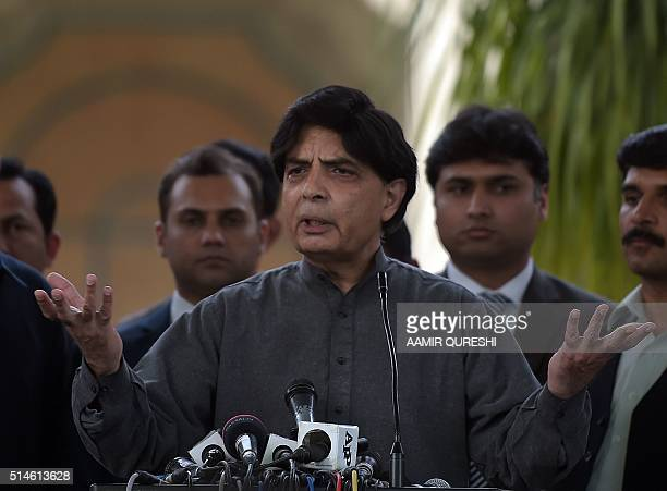 Pakistani Interior Minister Chaudhry Nisar Ali Khan gestures as he speaks with media representatives in Islamabad on March 10 2016 Pakistan's...