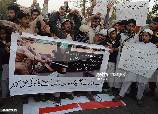 Pakistani Islamic students shout antiIndian slogans during a protest in Lahore on March 6 2014 Some 60 students from Indianadministered Kashmir may...