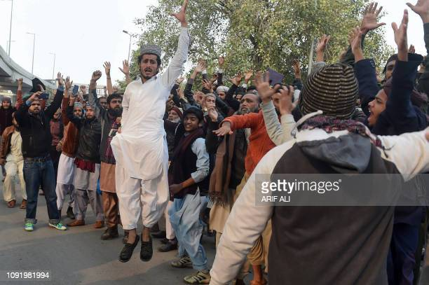 Pakistani Islamists shout slogans during a protest against the Supreme Court decision on the case of Asia Bibi, a Christian Pakistani woman accused...