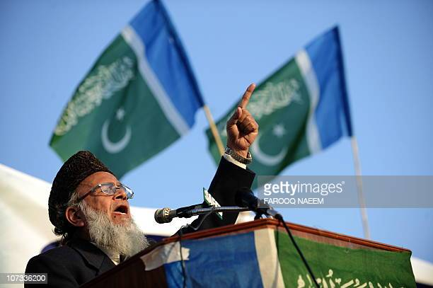 Pakistani JamaateIslami chief Syed Munawar Hassan addresses a rally in Islamabad on December 5 2010 Thousands of Pakistani Islamists on December 5...