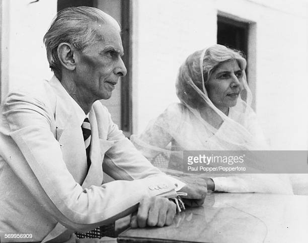 Pakistani lawyer and politician Muhammad Ali Jinnah pictured with his sister Fatima outside their house in New Delhi India on July 9th 1947