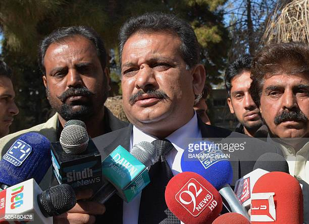 Pakistani lawyer for the family of late Baloch rebel leader Nawab Akbar Bugti Suhail Rajput speaks after a hearing in Quetta on January 18 2016 A...