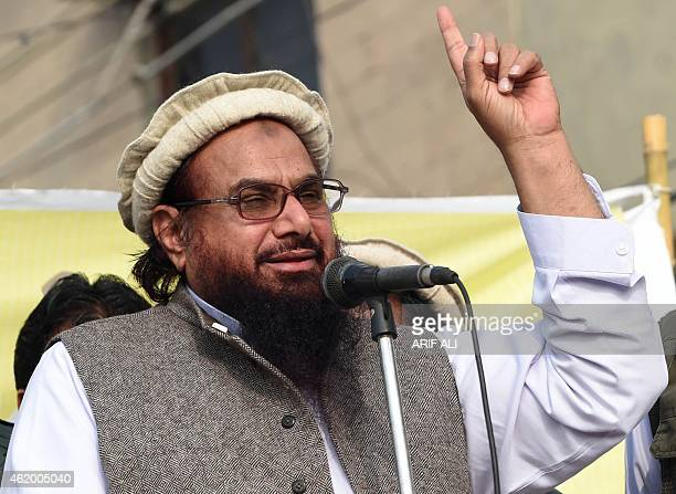 Pakistani leader of the Jamat udDawa organisation Hafiz Saeed addresses a rally against the printing of satirical sketches of the Prophet Mohammed by...