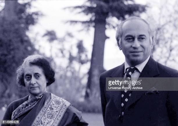 Pakistani leader Zulfikar Ali Bhutto and Indira Gandhi meet at the summit in Simla, India, 1972 following the Indo-Pakistan war.