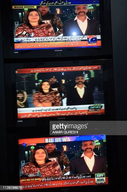 Pakistani live news channels broadcast on television images of Indian Air Force Wing Commander pilot Abhinandan Varthaman returning to India from the...