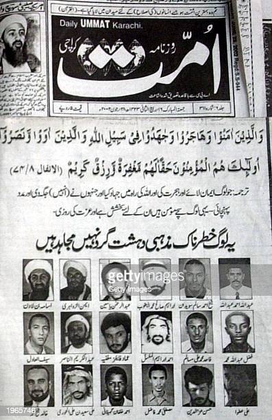 Pakistani local Urdu language newspaper published an advertisement June 28, 2002 with pictures of top al Qaeda suspects who are believed to be in...